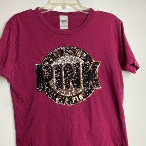 Pink Victoria Secret Shirt Sz XS/TP   Sequins